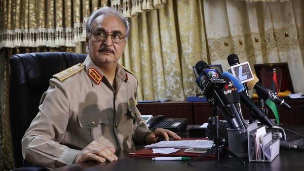 General Khalifa Haftar attends a news conference at Benina air base in Benghazi May 24.