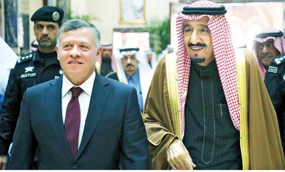 Custodian of the Two Holy Mosques King Salman receives Jordan's King Abdallah in Riyadh.