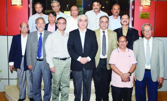 Pakistan Consul General Shehryar Akbar Khan, Deputy Consul General Asif Hussain Memon and Commercial Counselor Abdul Wahab Soomro with local journalists.