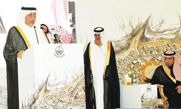 Makkah Gov. Prince Khaled Al-Faisal speaks after laying the foundation stone of Bahrah development center at Al-Bayda village on Wednesday.