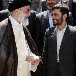 Iranian supreme leader, Ayatollah Ali Khameni, second left, talks with former President Mahmoud Ahmadinejad, second right, when he was still in office.